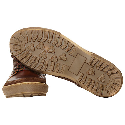 Buy Dune Suspension Leather Hi-Top Trainers, Tan Online at johnlewis.com