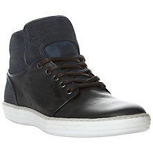 Buy Dune Scintillate Leather Hi-Top Trainers, Navy Online at johnlewis.com