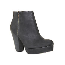 Buy KG by Kurt Geiger Vera Nubuck Leather Platform Ankle Boots, Black Online at johnlewis.com