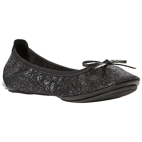 Buy Dune Magda Glitter Bow Trim Ballet Pumps, Black Online at johnlewis.com