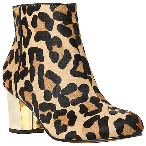 Buy Dune Nova Pony Block Heel Ankle Boots, Leopard Online at johnlewis.com