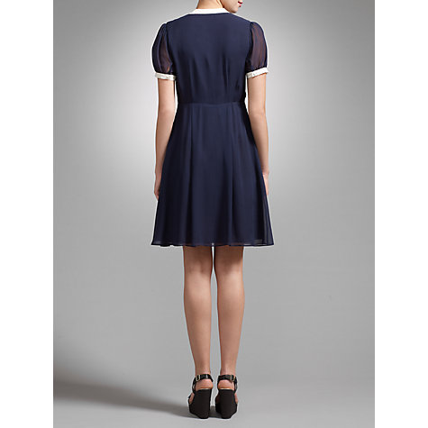 Buy Somerset by Alice Temperley Contrast Trim Silk Dress, Navy Online at johnlewis.com