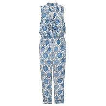 Buy Somerset by Alice Temperley Tile Print Silk Jumpsuit, Blue Online at johnlewis.com