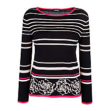 Buy Gerry Weber Intarsia Knit Jumper, Black/Pink Online at johnlewis.com