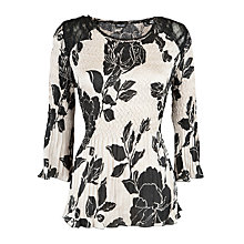 Buy Gerry Weber Printed Crinkle Satin Top, Black/Ecru Online at johnlewis.com