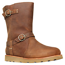 Buy UGG Noira Leather Double Buckled Calf Boots, Brown Online at johnlewis.com