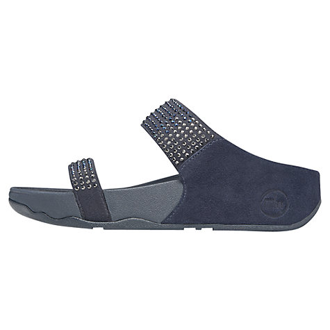 Buy FitFlop Flare Slide Suede Double Strap Flatform Sandals, Navy Online at johnlewis.com