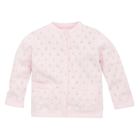 Buy John Lewis Baby Layette Pointelle Cardigan, Pink Online at johnlewis.com