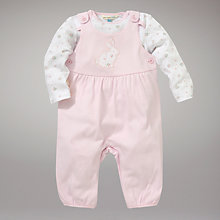Buy John Lewis Baby Layette Rabbit Dungaree Set, Pink Online at johnlewis.com