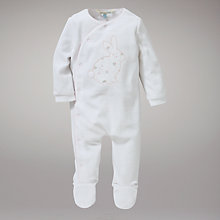 Buy John Lewis Baby Layette Rabbit Velour All In One, White Online at johnlewis.com