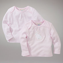 Buy John Lewis Baby Layette Stripe Rabbit Top, Pack of 2, Pink Online at johnlewis.com