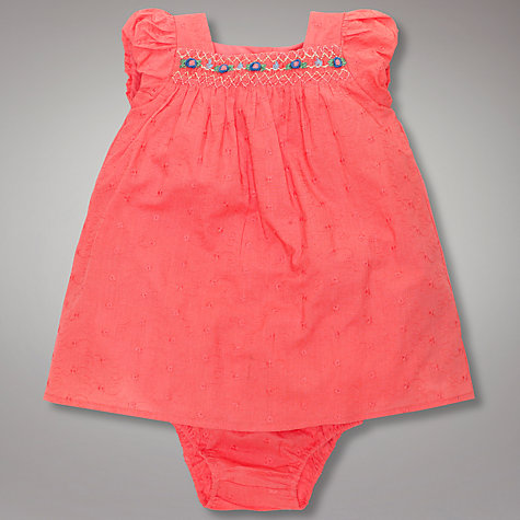 Buy John Lewis Baby Vintage Embroidered Flowers Dress, Pink Online at johnlewis.com
