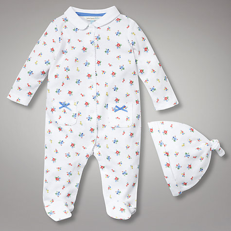 Buy John Lewis Baby All Over Print Floral All In One with Hat, White Online at johnlewis.com