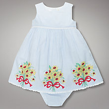 Buy John Lewis Baby Vintage Ticking Striped Ladybird Flower Dress, Blue/White Online at johnlewis.com