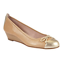 Buy Unisa Dulcor Leather Metallic Toecap Wedge Pumps, Beige Online at johnlewis.com