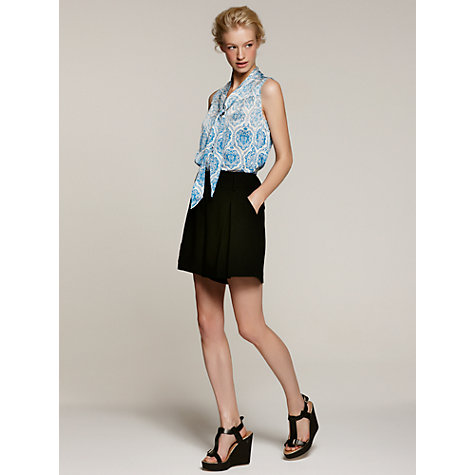 Buy Somerset by Alice Temperley Tile Print Sleeveless Silk Blouse, Blue Online at johnlewis.com