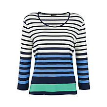 Buy Gerry Weber Long Sleeved Stripe T-Shirt, Navy/Green Online at johnlewis.com