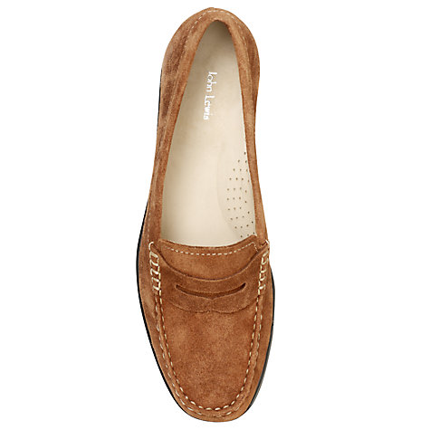 Buy John Lewis Contrast Stitch Penny Loafer, Cognac Online at johnlewis.com