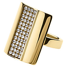 Buy Dyrberg/Kern Chandros Oblong Swarovski Crystal Set Ring, Gold Online at johnlewis.com