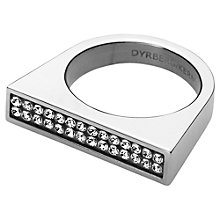 Buy Dyrberg/Kern Tatyana Crystal Set Statement Ring, Silver Online at johnlewis.com