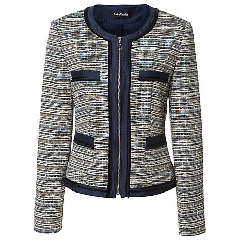 Buy Betty Barclay Tweed Jacket, Dark Blue/Camel Online at johnlewis.com