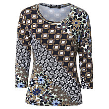 Buy Betty Barclay Flower Print Top, Dark Blue/Camel Online at johnlewis.com