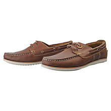Buy Barbour Flinders Leather Lace Up Boat Shoes, Brown Online at johnlewis.com