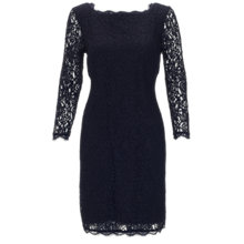 Buy Adrianna Papell Long Sleeve Lace Dress, Navy Online at johnlewis.com