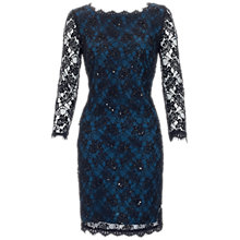 Buy Adrianna Papell Sleeved Lace Dress, Black/Teal Online at johnlewis.com