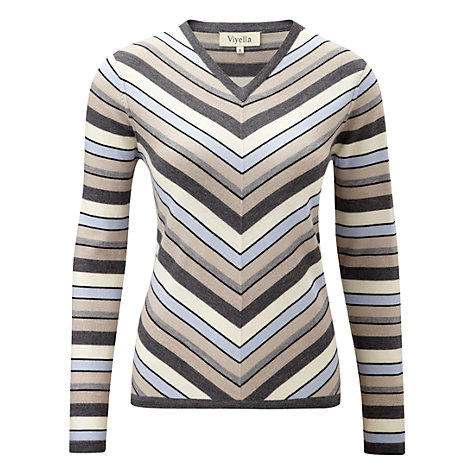 Buy Viyella Chevron Stripe Jumper, Grey Online at johnlewis.com