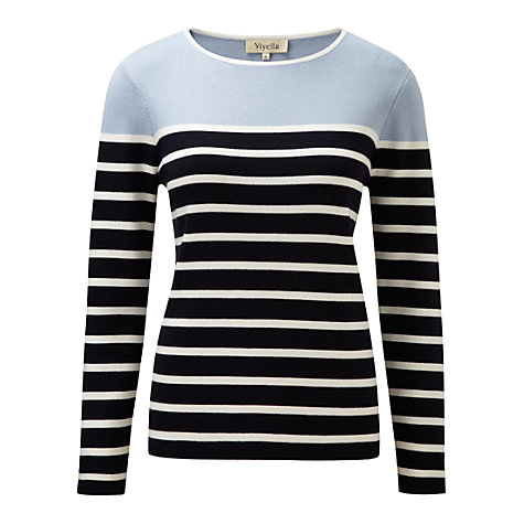 Buy Viyella Breton Stripe Jersey Top, Navy Online at johnlewis.com