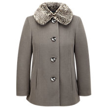 Buy Viyella Petite Faux Fur Collar Coat, Mink Online at johnlewis.com