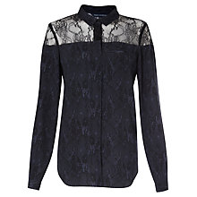 Buy French Connection Lacey Draped Shirt, Black Lace/Saturn Blue Online at johnlewis.com