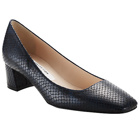 Buy COLLECTION by John Lewis Tautou Lizard Print Leather Court Shoes, Navy Online at johnlewis.com