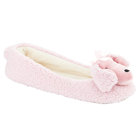 Buy John Lewis Dewey the Poodle Textile Slippers, Pink Online at johnlewis.com