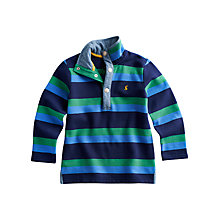 Buy Little Joule Captain Striped Long Sleeved Jumper, Navy/Green Online at johnlewis.com