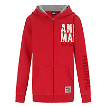 Buy Animal Stagger Zip Through Hoodie, Red Online at johnlewis.com