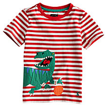 Buy Little Joule Archie Dinosaur T-Shirt, Red/White Online at johnlewis.com