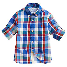 Buy Little Joule Firth Long Sleeved Checked Shirt, Blue Online at johnlewis.com