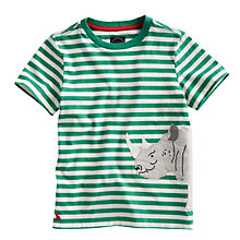 Buy Little Joule Striped Archie Rhino T-Shirt, Green/White Online at johnlewis.com