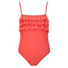 Buy John Lewis Girl Ruffle Swimsuit, Coral Online at johnlewis.com