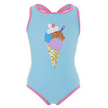 Buy John Lewis Girl Ice Cream Swimming Costume, Aqua Online at johnlewis.com