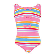 Buy John Lewis Girl Bow Striped Swimming Costume, Pink/Multi Online at johnlewis.com