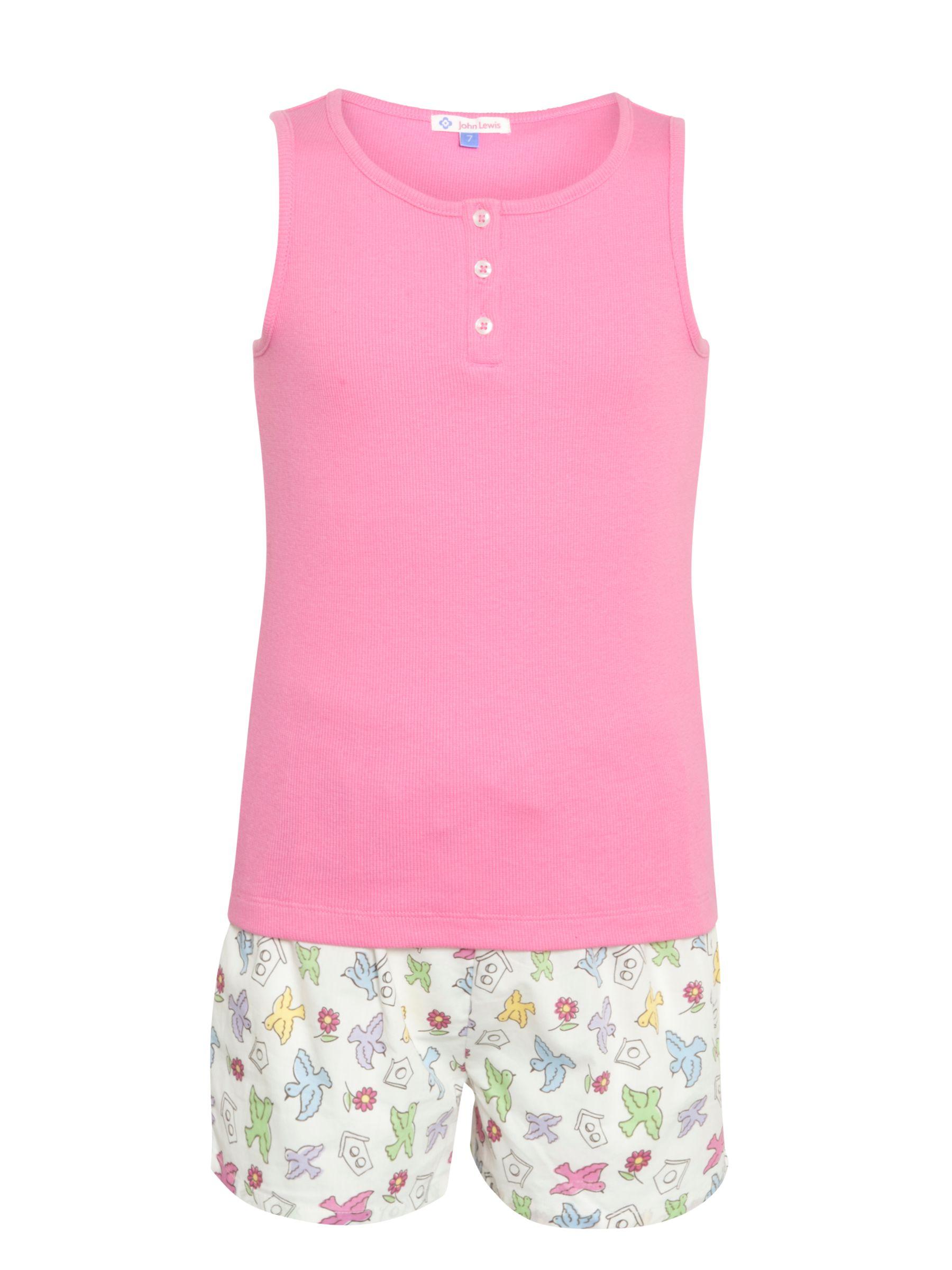 John Lewis Birds Shortie Pyjamas, Pink/Multi