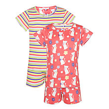 Buy John Lewis Girl Cat Shortie Pyjamas, Pack of 2, Multi Online at johnlewis.com