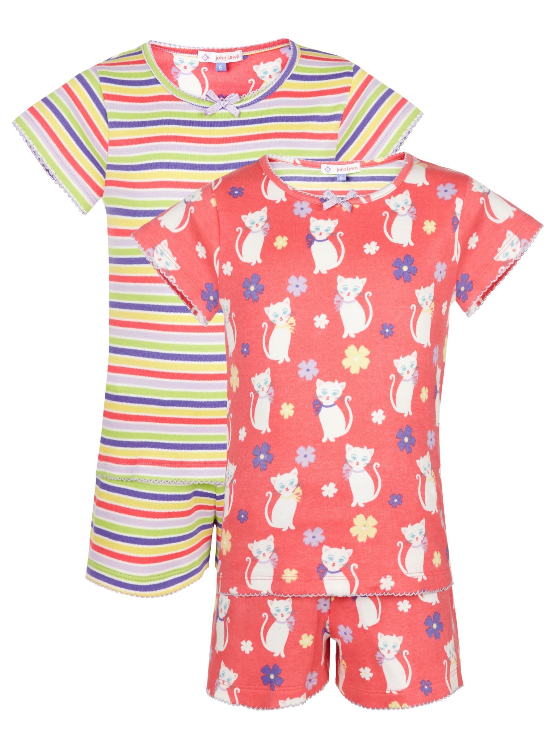 John Lewis Girl Cat Shortie Pyjamas, Pack of 2, Multi