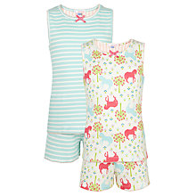 Buy John Lewis Girl Vintage Horse Shortie Pyjamas, Pack of 2, Multi Online at johnlewis.com