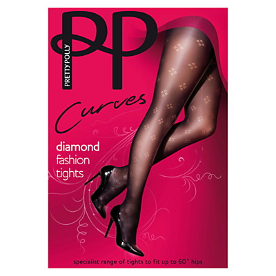 Pretty Polly Curves Diamond Tights, Black