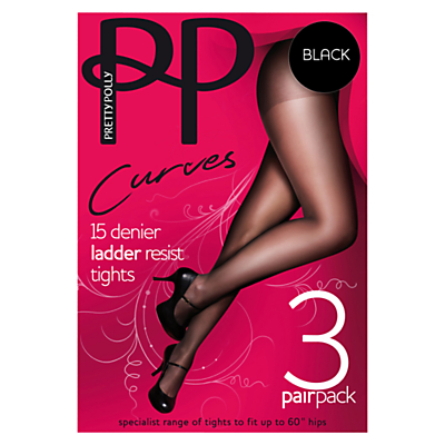 Pretty Polly Curves 15 Denier Ladder Resist Tights, Pack of 3