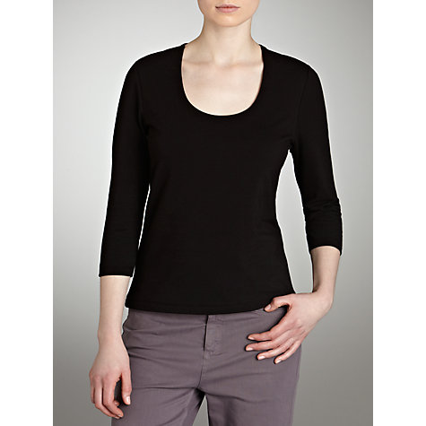 Buy John Lewis Double Layer 3/4 Sleeve Top, Black Online at johnlewis.com